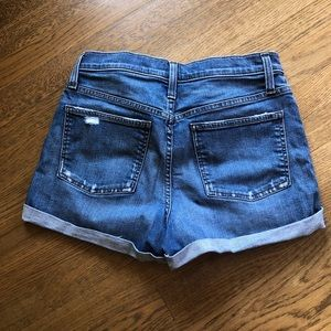 J. Crew size 29 distressed denim shorts.